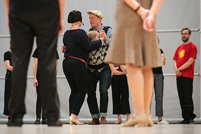 Sofia Enros, Daniel Johansson and Ilse Enros, Mildreds kompani, teaching Balboa at Ritz Winter Hop 2018 in Vörå, outside Vasa / Vaasa, Finland / Suomi. swingdance swingdans